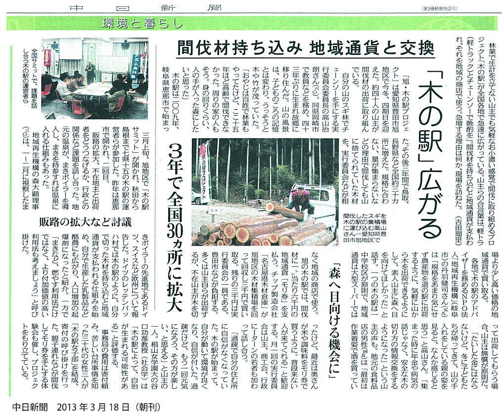 旭サミット記事(中日:2013年3月18日)
