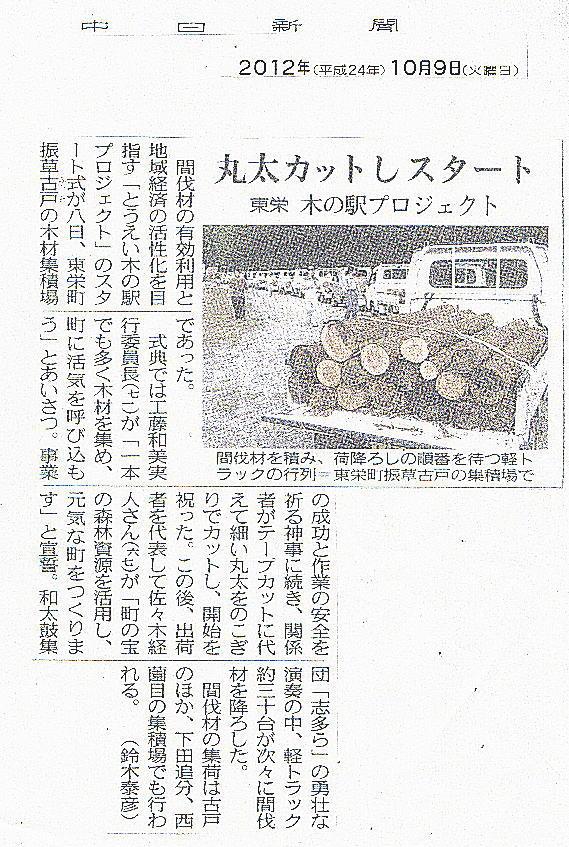 中日新聞(2012年10月9日)