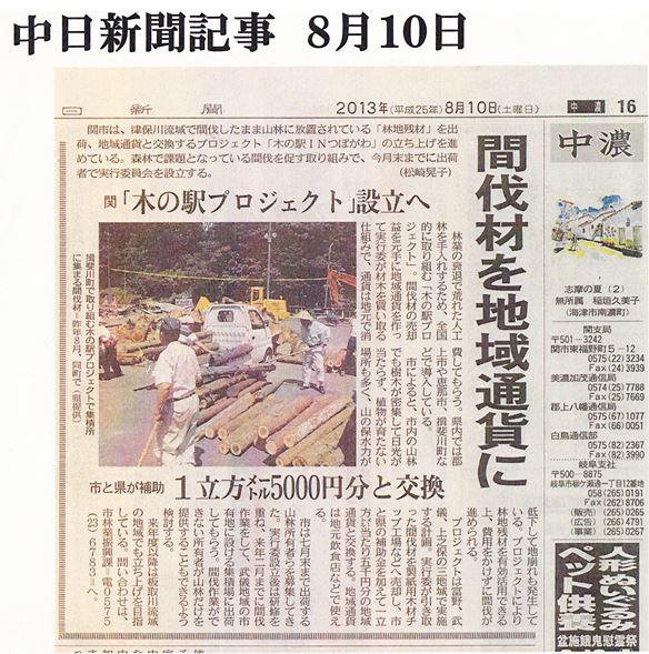 中日新聞記事(2013/8/10)