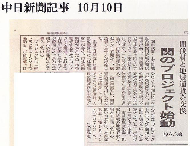 中日新聞記事(2013/10/8)